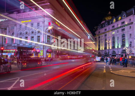 Light Trail Trails at London Piccadilly Circus - Stock Photo