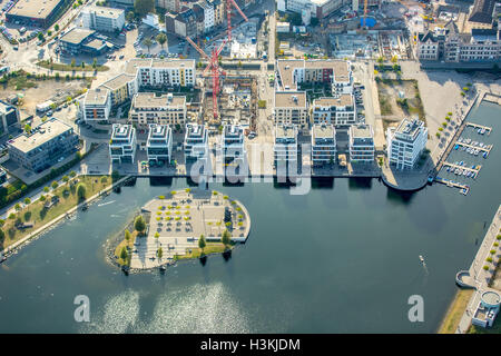 Aerial picture, island in the lake, PHOENIX lake Dortmund, Emscher, former ironworks location, structural change, - Stock Photo