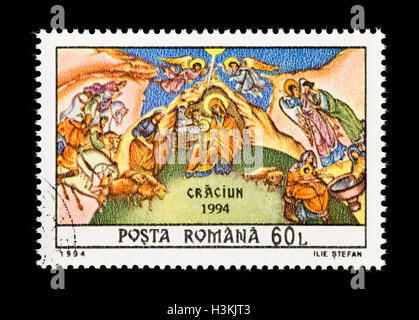 Postage stamp from Romania depicting Christmas. - Stock Photo