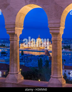 Danube River and Hungarian Parliament from Fisherman's Bastion (Fishermen's Bastion), Buda Castle district, Budapest, - Stock Photo