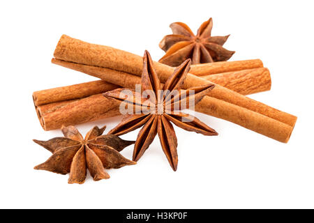 Anise and cinnamon sticks on white. Winter spices closeup. - Stock Photo