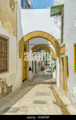 The capital of Tunisia boasts well preserved arabic town in Tunis. - Stock Photo
