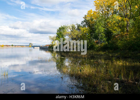 An autumn scene near the entrance to the Soulange Canal - Stock Photo