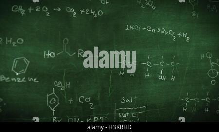 Organic chemical formulas on a green chalkboard - Stock Photo