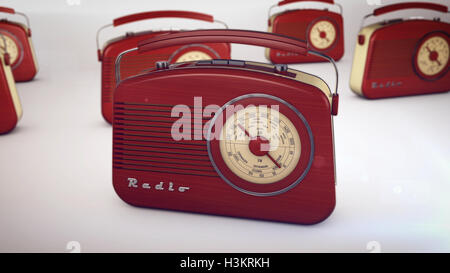 3D rendering of Red Retro Radio Receivers - Stock Photo