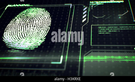 3D rendering of Scanning fingerprint. Interface HUD. Abstract background. - Stock Photo