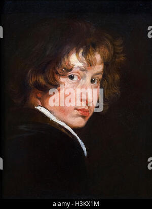 The Flemish artist, Sir Anthony van Dyck (1599 -1641), self-portrait at the age of around 15, oil on wood, c.1614. - Stock Photo