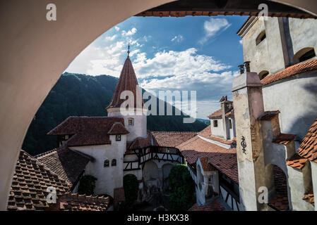 Bran Castle near Bran, Romania, commonly known as 'Dracula's Castle', home of title character in Bram Stoker's 'Dracula' - Stock Photo