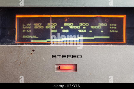 Details of an old radio receiver, closeup view on button for stereo. - Stock Photo