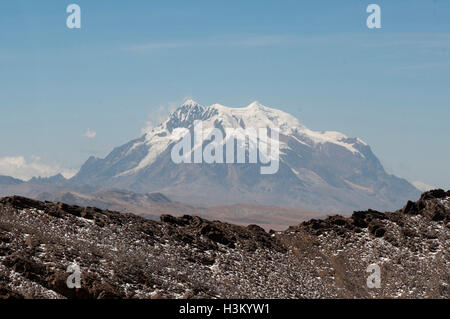 Nevado Illimani, 6442m, an Andean peak in the Cordillera Real outside La Paz, Bolivia - Stock Photo