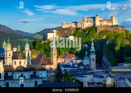 Salzburg cathedral and fortress - Stock Photo