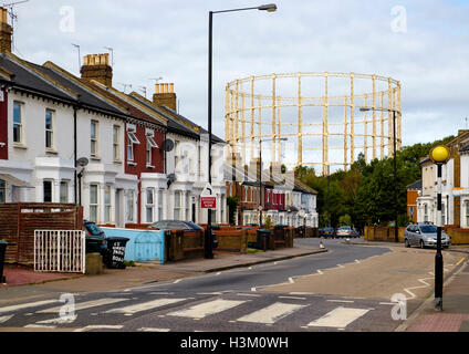 The last remaining Hornsey gas holder viewed from Hornsey Park Road, North London - Stock Photo