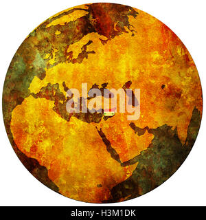 syria territory with flag on map of globe - Stock Photo