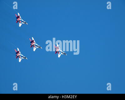 Swifts Strizhi on board the planes MiG 29 performance of training missions by Air Force aerobatic teams on Air Force - Stock Photo
