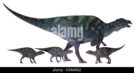 Maiasaura Dinosaur with Babies - Stock Photo