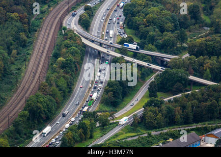 Areal view of Autobahn motorway junction, of highway A3 and A40, Duisburg, Germany - Stock Photo