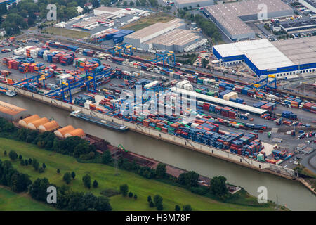 Areal view of inland port Ruhrort, Duisburg, Germany, river Rhine, Logport cargo container terminal, harbor, port, - Stock Photo
