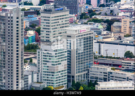 Areal shot of the city of Essen, Germany, city center, downtown area, business district, - Stock Photo