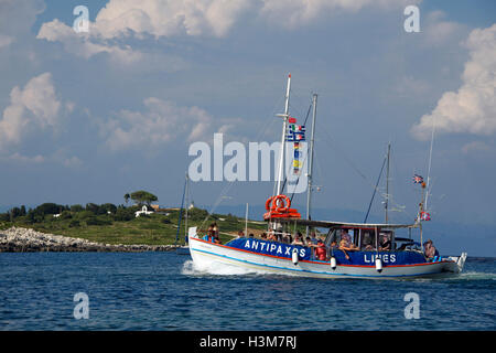 Antipaxos ferry Gaios Harbour Paxos Ionian Islands Greece - Stock Photo