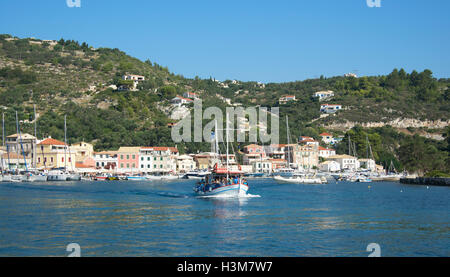 Ferry leaving Gaios Harbour Paxos Ionian Islands Greece - Stock Photo