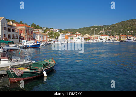 Panoramic view Gaios Harbour Paxos Ionian Islands Greece - Stock Photo