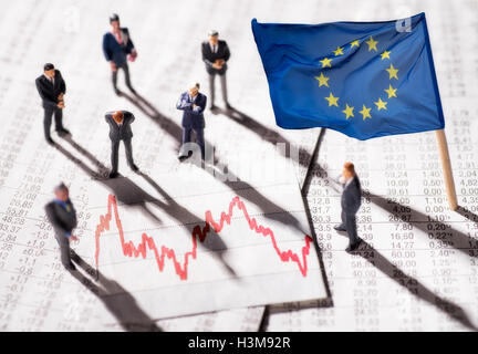 Manager with chart and the flag of the European Union - Stock Photo