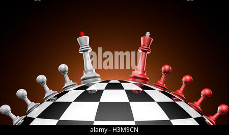 Chess red and gray on the chess field (symbol-political dialogue). 3D illustration rendering. - Stock Photo