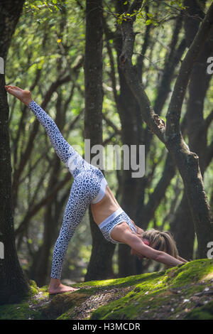 Woman practising yoga in forest - Stock Photo