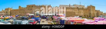 Panorama of the fortress walls of Medina and the souq, located at Bab Jebli gates in Sfax. - Stock Photo