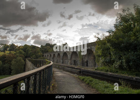 Llangollen Canal at Chirk Aqueduct and Viaduct  on the England Wales Border - Stock Photo