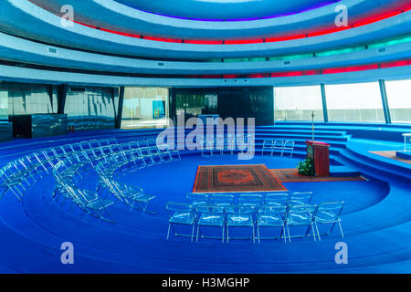 KORAZIM, ISRAEL - JANUARY 22, 2016: The Auditorium in the Domus Galilaeae (House of Galilee) Monastery, on the peak - Stock Photo