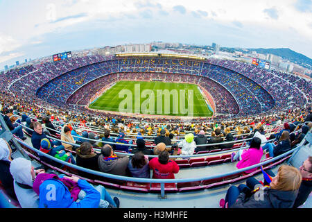 BARCELONA - FEB 21: A general view of the Camp Nou Stadium. - Stock Photo