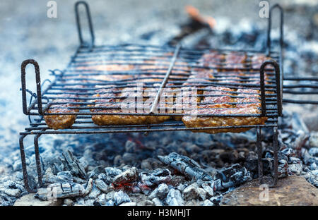 Minced meat rolls on grill with embers for barbecue - Stock Photo