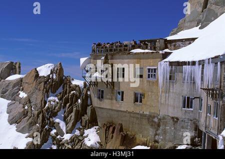 Aravis terrace in the Aiguille du Midi (3.842 m), French Alps, massif of Mont Blanc (Monte Bianco), Haute-Savoie, - Stock Photo