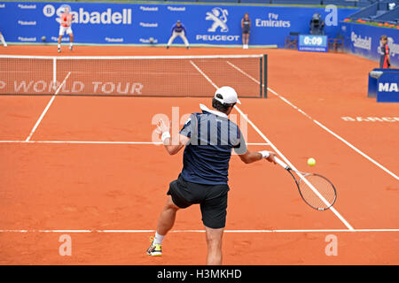 BARCELONA - APR 20: Pablo Andujar (Spanish tennis player) plays at the ATP Barcelona Open. - Stock Photo
