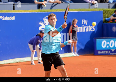 BARCELONA - APR 20: Pablo Carreno Busta (Spanish tennis player) plays at the ATP Barcelona Open. - Stock Photo
