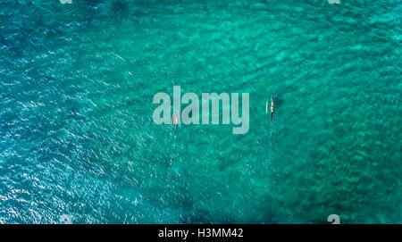 Aerial view of Outrigger Canoe's on the north shore of Oahu - Stock Photo