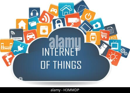 Internet of things concept and Cloud computing technology Smart Home Technology Internet networking concept. Internet - Stock Photo
