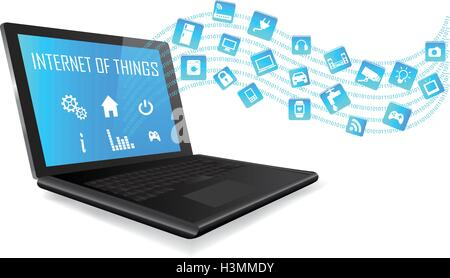 Laptop with Internet of things (IoT) icons connecting together. Internet networking concept. Application coming - Stock Photo