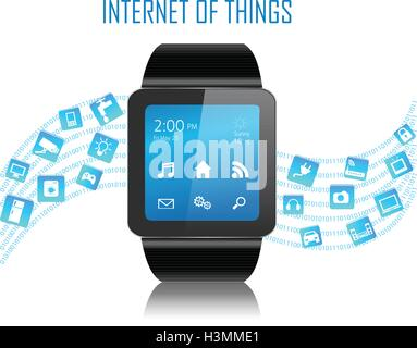 Smartwatch with Internet of things (IoT) icons connecting together. Internet networking concept. - Stock Photo