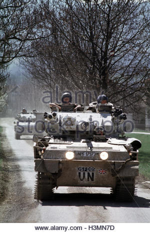30th March 1994 Two British Scimitar fighting vehicles of the Light Dragoons on patrol near their base in Vitez, - Stock Photo