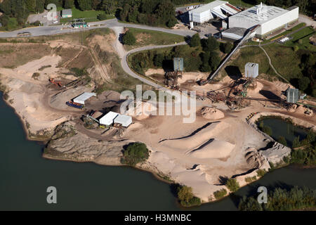aerial view of a sand quarry in Cheshire, UK - Stock Photo