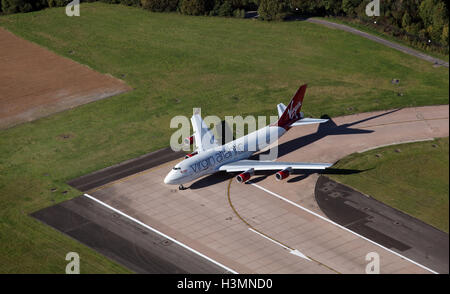 aerial view of a Virgin Atlantic Boeing 747 400 on the runway at Manchester AIrport, UK - Stock Photo