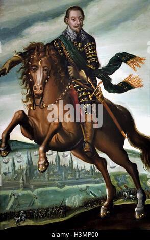 Gustav II Adolf, King of Sweden (1611-1632) on horseback in the Battle of Stralsund 1628 ( painter Heyden, Jacob - Stock Photo