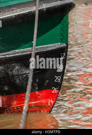 Bow of a historic Ferry in the Museum Port of Oevelgoenne, Hamburg - Stock Photo