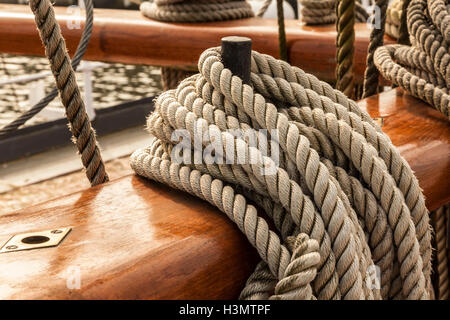 Rig Details of a historic Sailing Ship Gorch Fock in the Port of Stralsund - Stock Photo