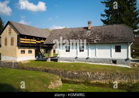 Traditional houses in Kumrovec, Croatia - Stock Photo