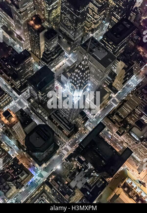 Aerial view from helicopter of Midtown, Chrysler Building, New York, USA - Stock Photo