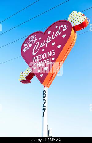 Cupids Wedding Chapel, Downtown Las Vegas, on corner of Las Vegas Blvd and Hoover Ave - Stock Photo
