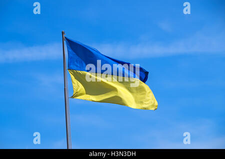Ukrainian flag flying on a flagpole in motorized infantry military unit - Stock Photo